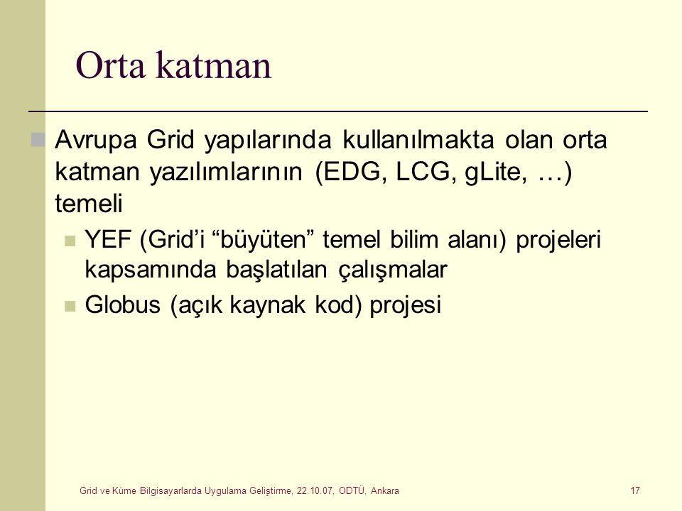 Orta katman Avrupa Grid yapılarında kullanılmakta olan orta katman yazılımlarının (EDG, LCG, gLite, …) temeli.