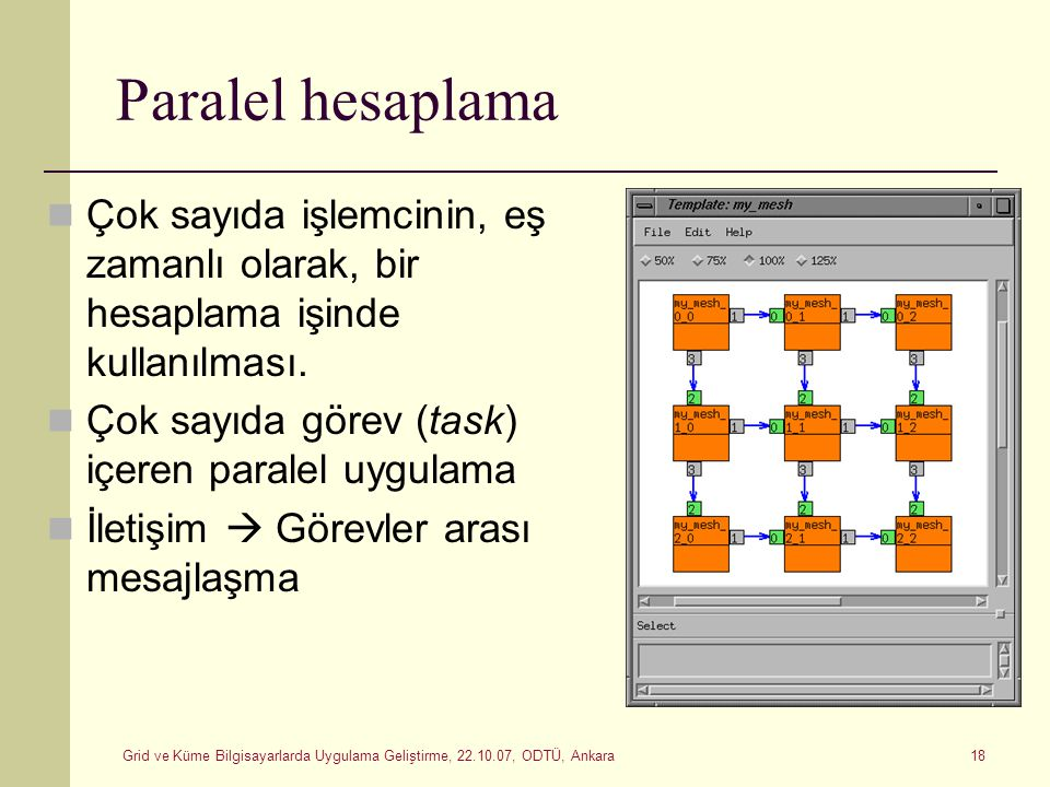 Paralel hesaplama Çok sayıda işlemcinin, eş zamanlı olarak, bir hesaplama işinde kullanılması. Çok sayıda görev (task) içeren paralel uygulama.