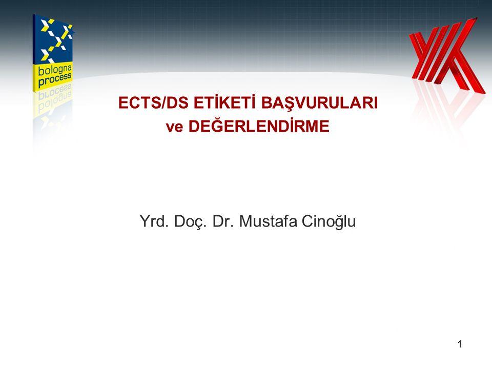 ECTS/DS ETİKETİ BAŞVURULARI ve DEĞERLENDİRME Yrd. Doç. Dr