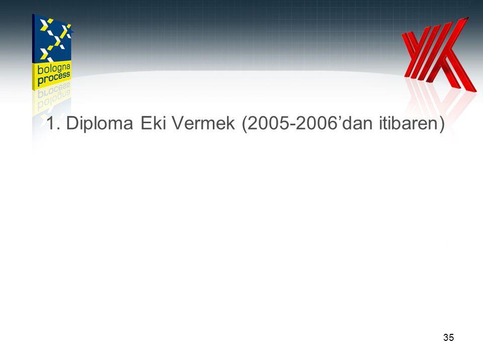 1. Diploma Eki Vermek (2005-2006'dan itibaren)