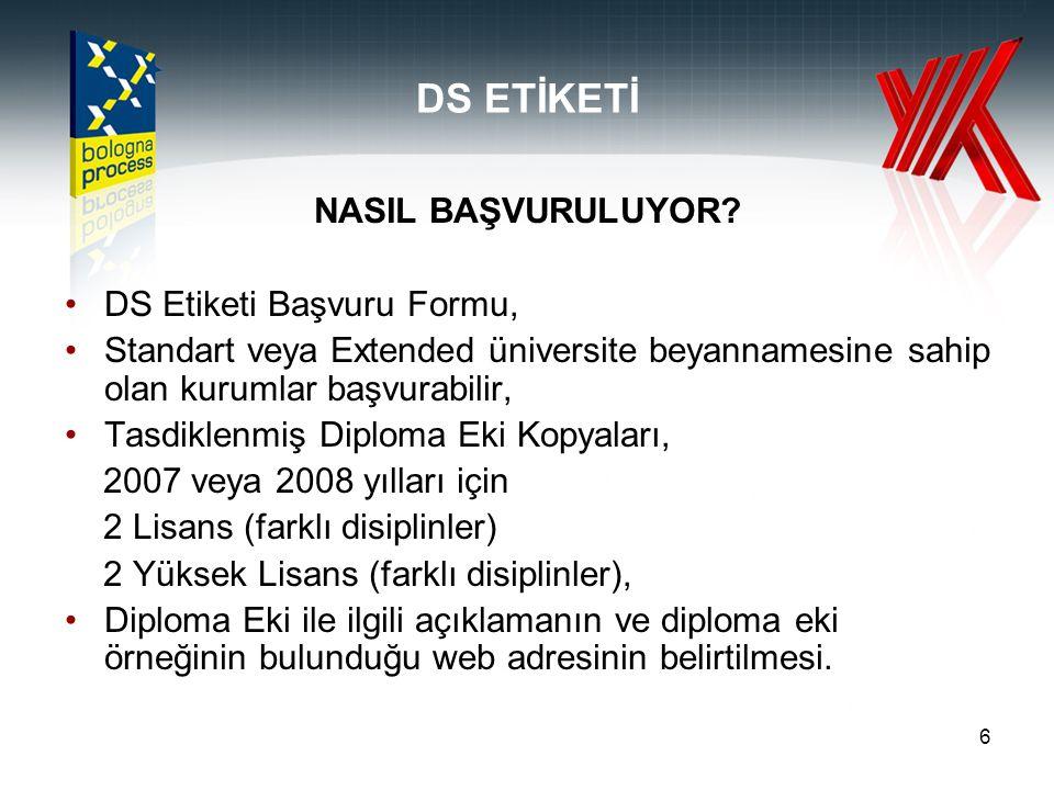 DS ETİKETİ NASIL BAŞVURULUYOR DS Etiketi Başvuru Formu,