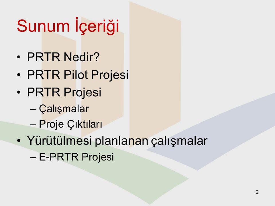 Sunum İçeriği PRTR Nedir PRTR Pilot Projesi PRTR Projesi