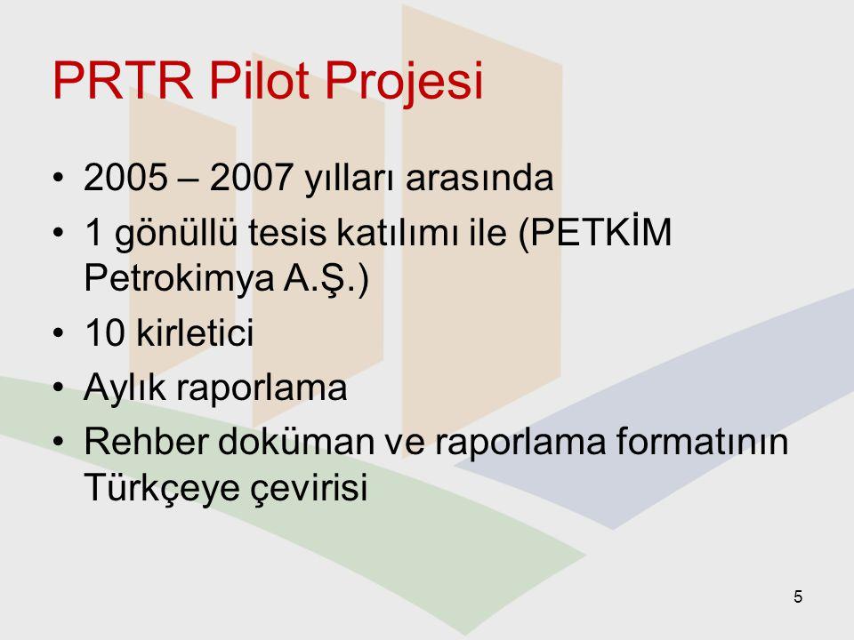 PRTR Pilot Projesi 2005 – 2007 yılları arasında