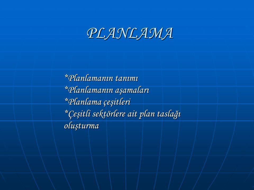 PLANLAMA *Planlamanın tanımı *Planlamanın aşamaları