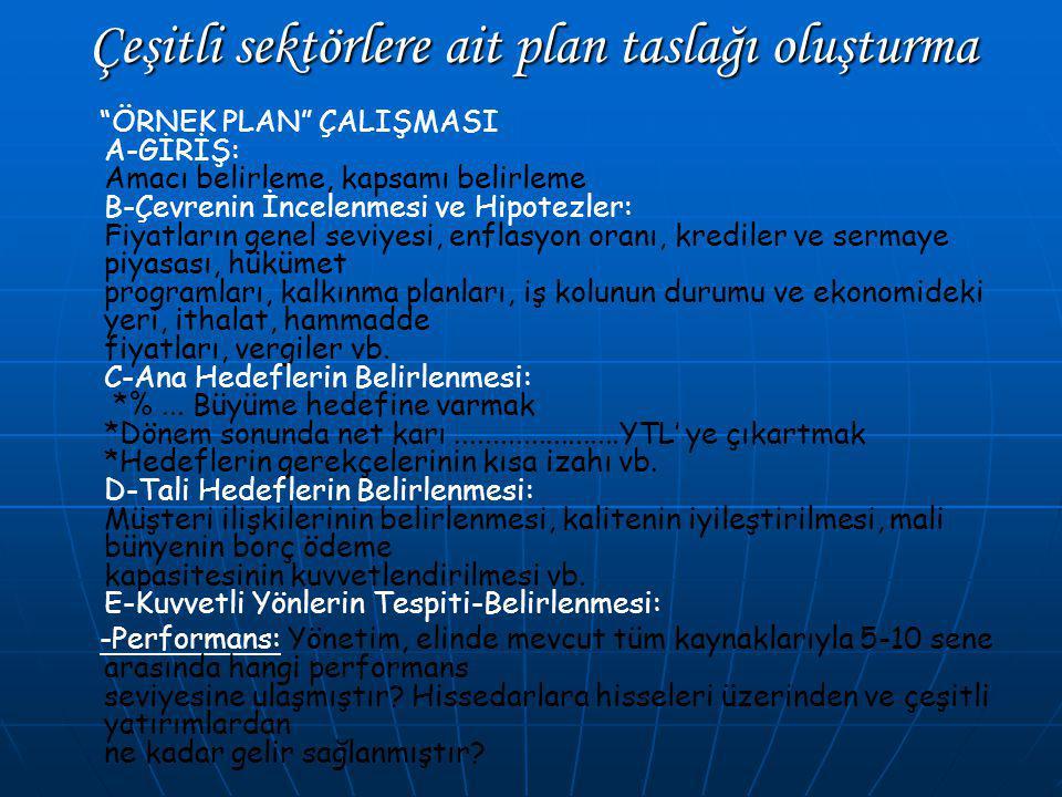 Çeşitli sektörlere ait plan taslağı oluşturma