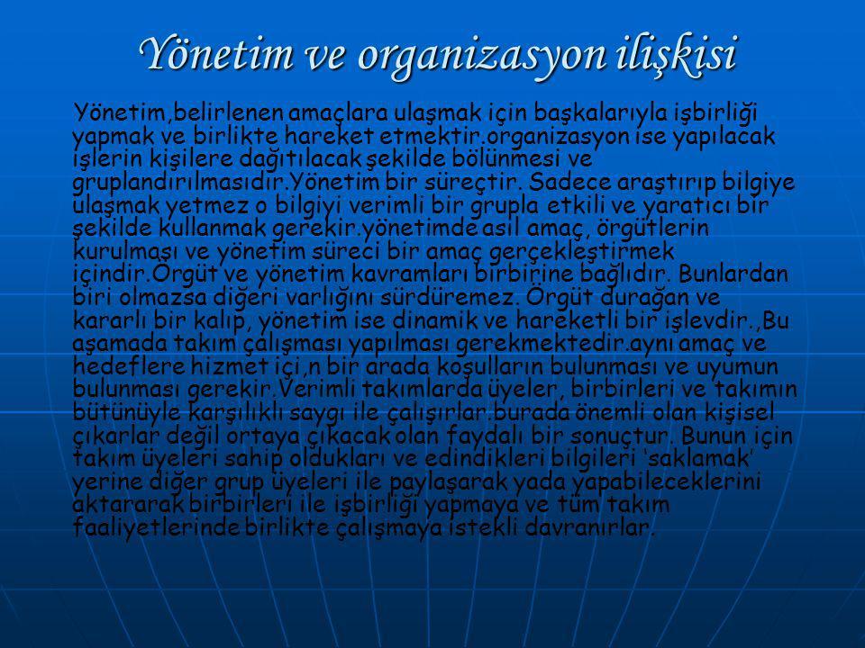 Yönetim ve organizasyon ilişkisi