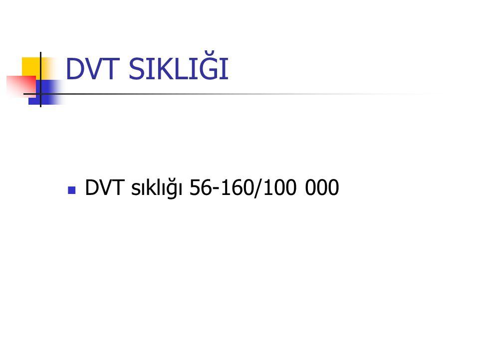 DVT SIKLIĞI DVT sıklığı 56-160/100 000