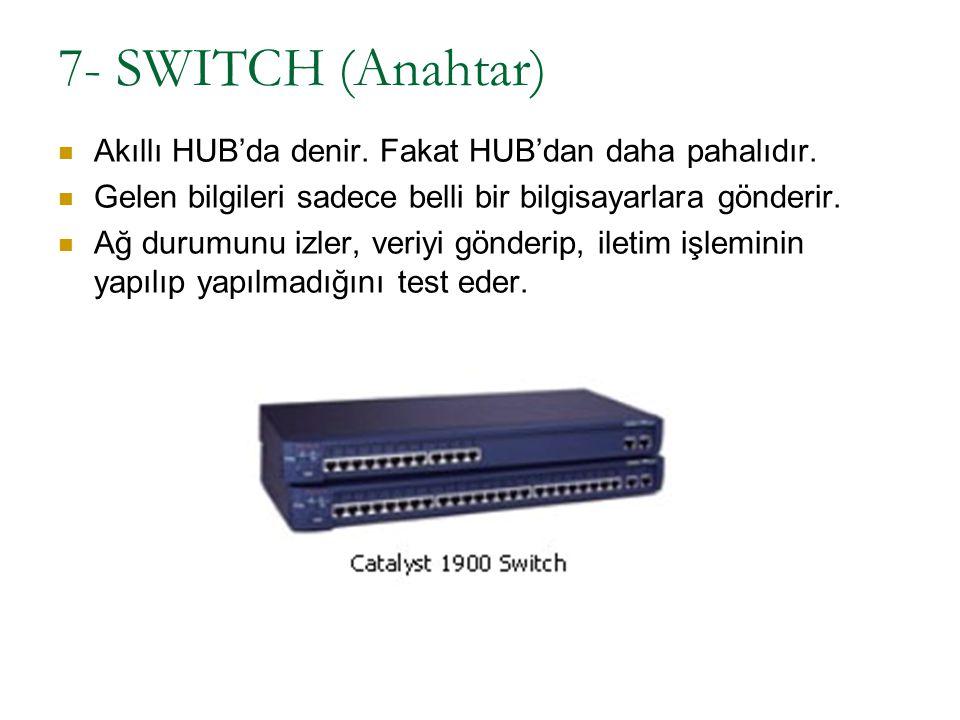 7- SWITCH (Anahtar) Akıllı HUB'da denir. Fakat HUB'dan daha pahalıdır.