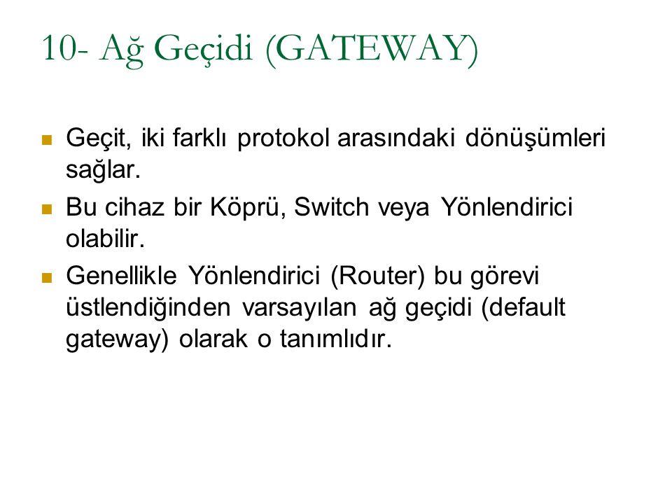 10- Ağ Geçidi (GATEWAY) Geçit, iki farklı protokol arasındaki dönüşümleri sağlar. Bu cihaz bir Köprü, Switch veya Yönlendirici olabilir.