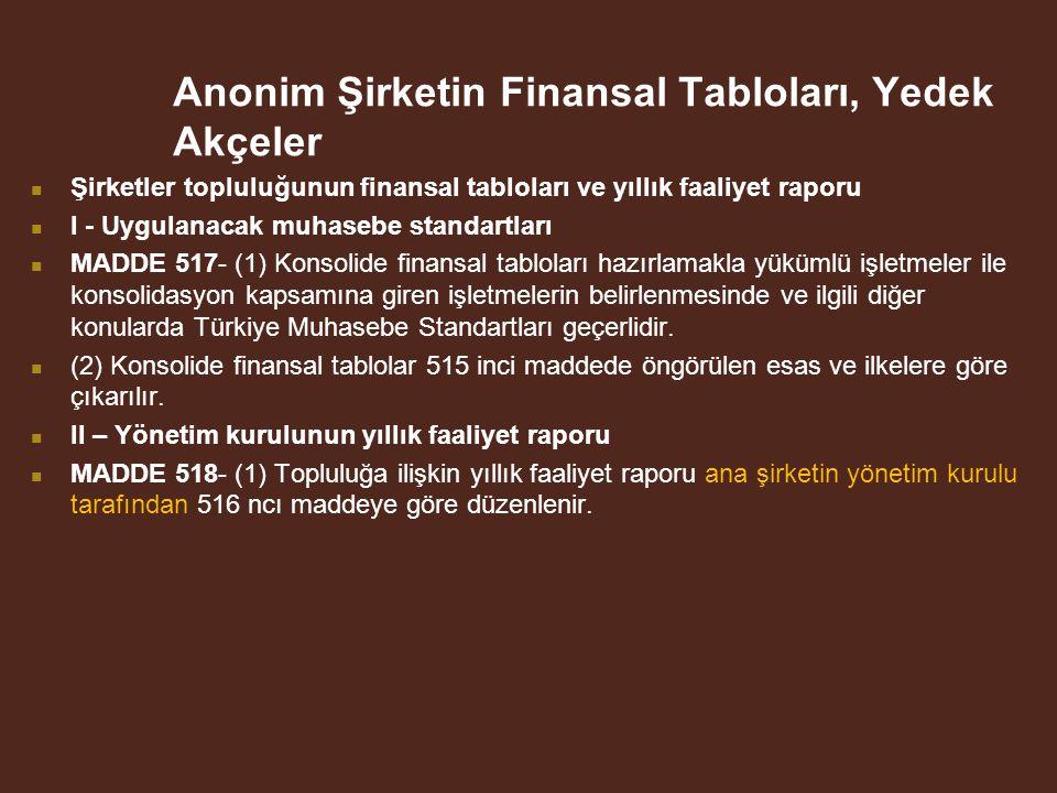 Anonim Şirketin Finansal Tabloları, Yedek Akçeler
