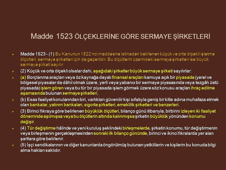 Madde 1523 ÖLÇEKLERİNE GÖRE SERMAYE ŞİRKETLERİ