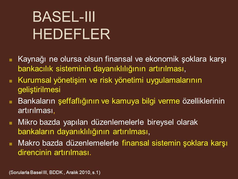 BASEL-III HEDEFLER Kaynağı ne olursa olsun finansal ve ekonomik şoklara karşı bankacılık sisteminin dayanıklılığının artırılması,