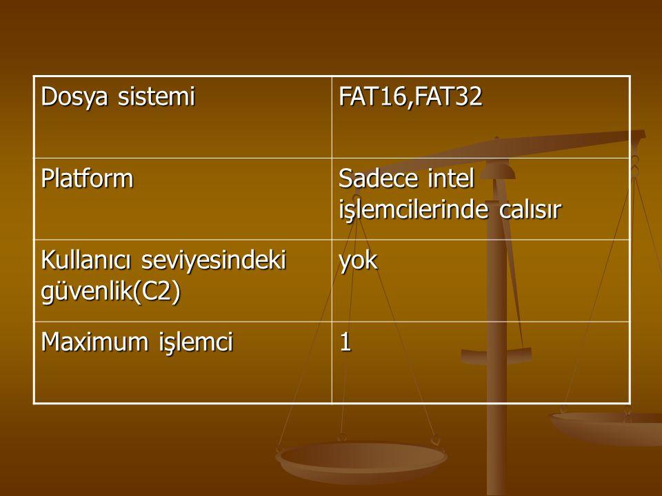 Dosya sistemi FAT16,FAT32. Platform. Sadece intel işlemcilerinde calısır. Kullanıcı seviyesindeki güvenlik(C2)