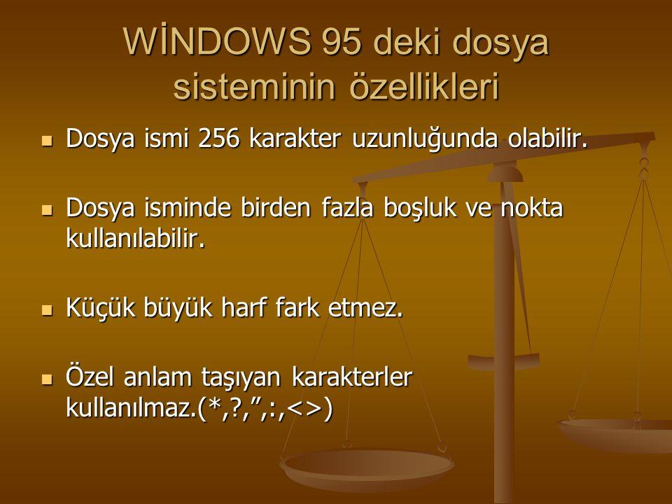 WİNDOWS 95 deki dosya sisteminin özellikleri