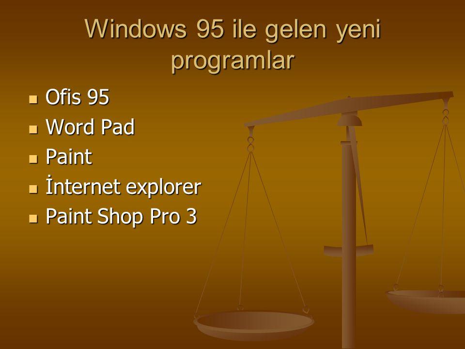 Windows 95 ile gelen yeni programlar