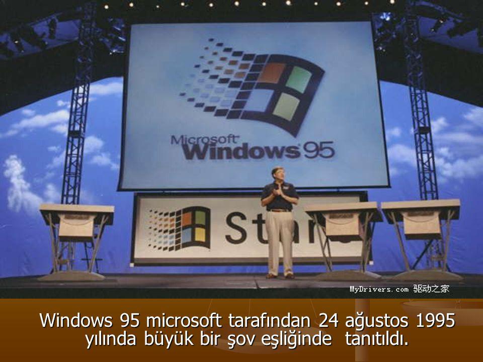 Windows 95 microsoft tarafından 24 ağustos 1995 yılında büyük bir şov eşliğinde tanıtıldı.