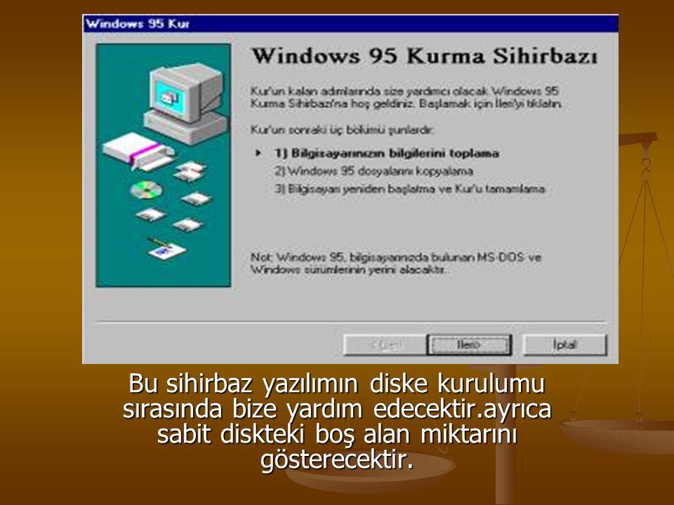 Bu sihirbaz yazılımın diske kurulumu sırasında bize yardım edecektir