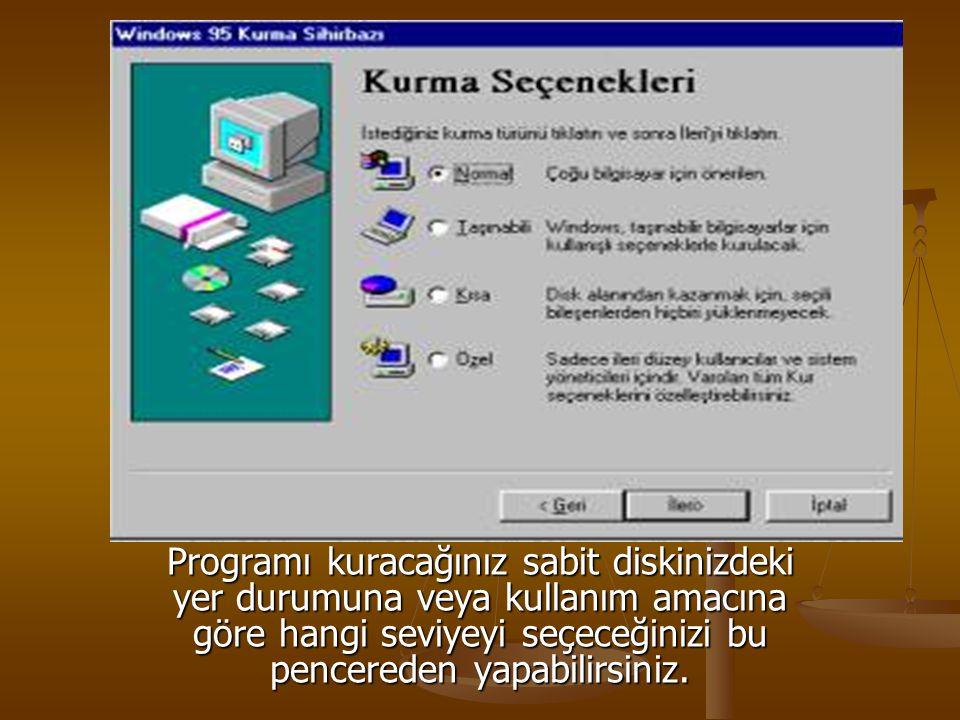 Programı kuracağınız sabit diskinizdeki yer durumuna veya kullanım amacına göre hangi seviyeyi seçeceğinizi bu pencereden yapabilirsiniz.
