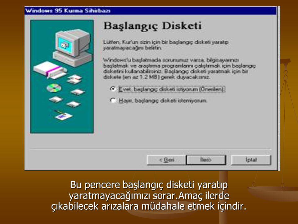 Bu pencere başlangıç disketi yaratıp yaratmayacağımızı sorar