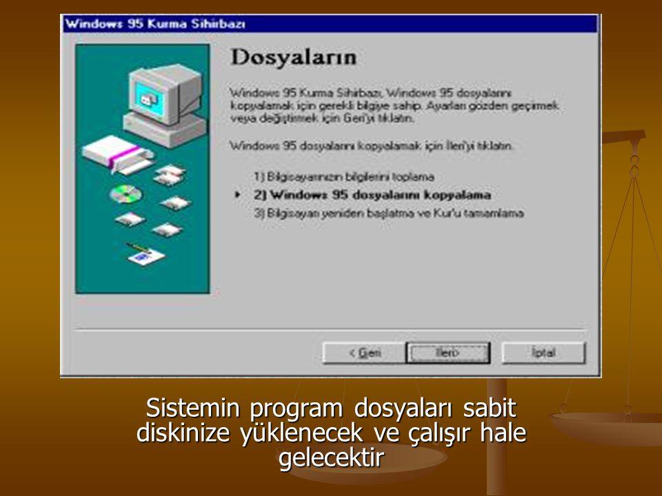 Sistemin program dosyaları sabit diskinize yüklenecek ve çalışır hale gelecektir