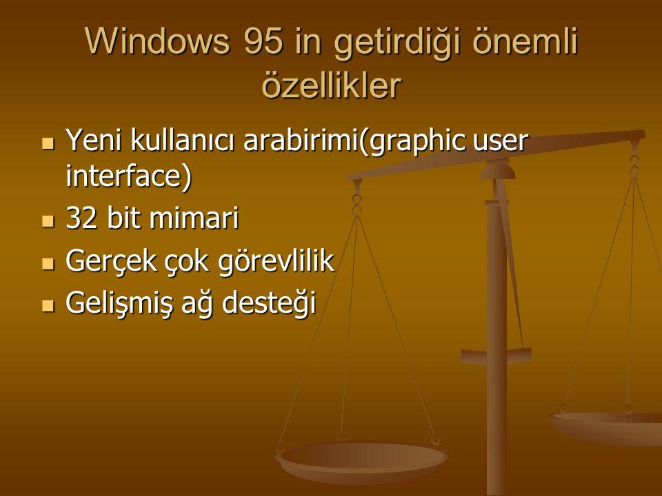 Windows 95 in getirdiği önemli özellikler
