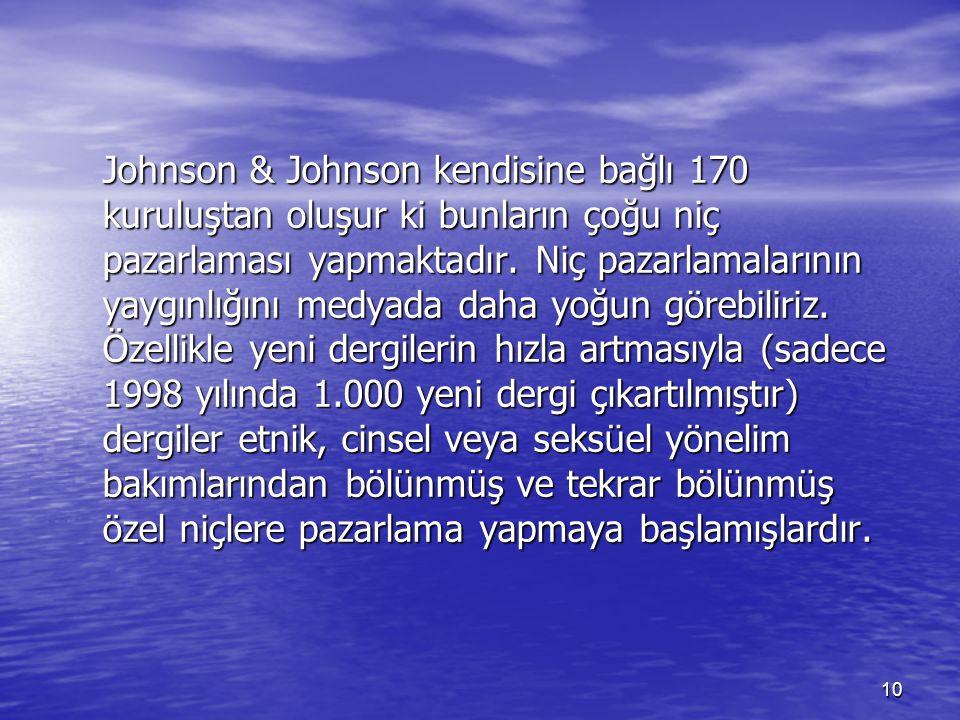 Johnson & Johnson kendisine bağlı 170 kuruluştan oluşur ki bunların çoğu niç pazarlaması yapmaktadır.