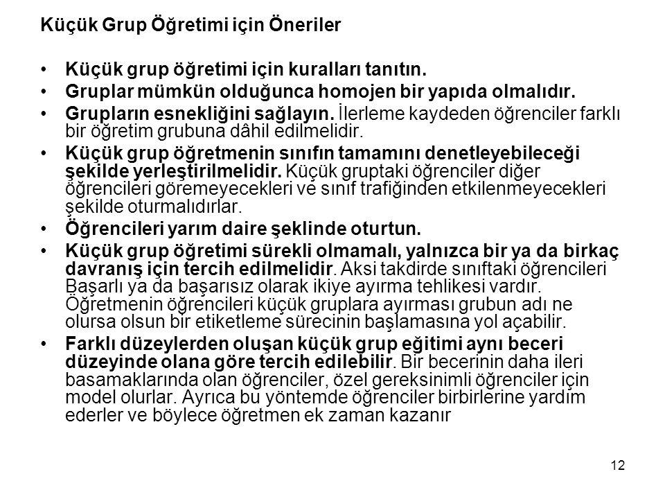 Küçük Grup Öğretimi için Öneriler