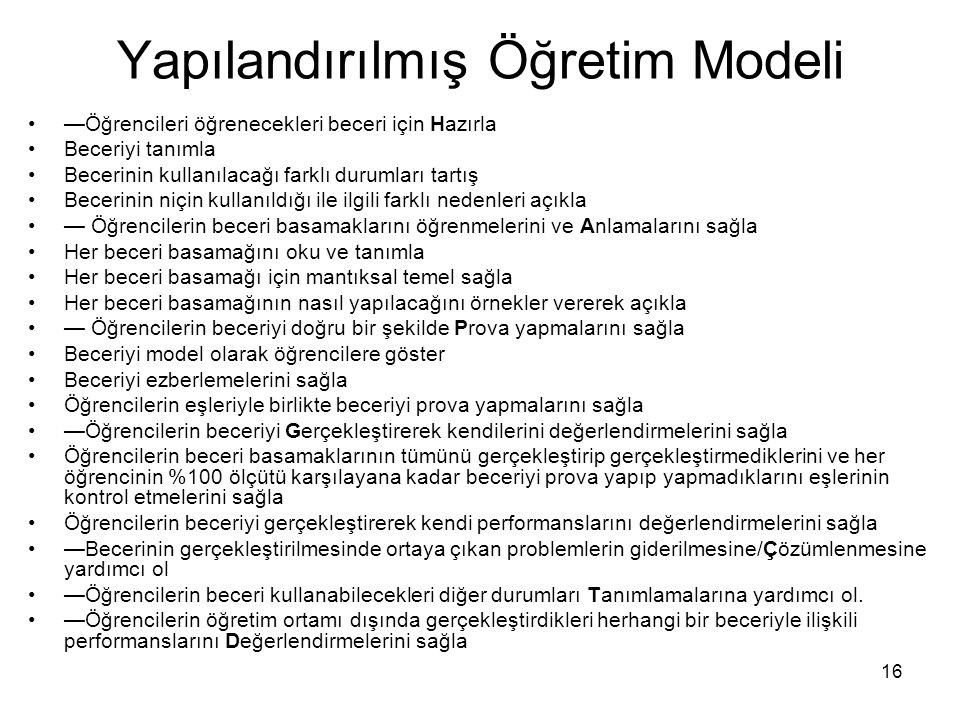 Yapılandırılmış Öğretim Modeli