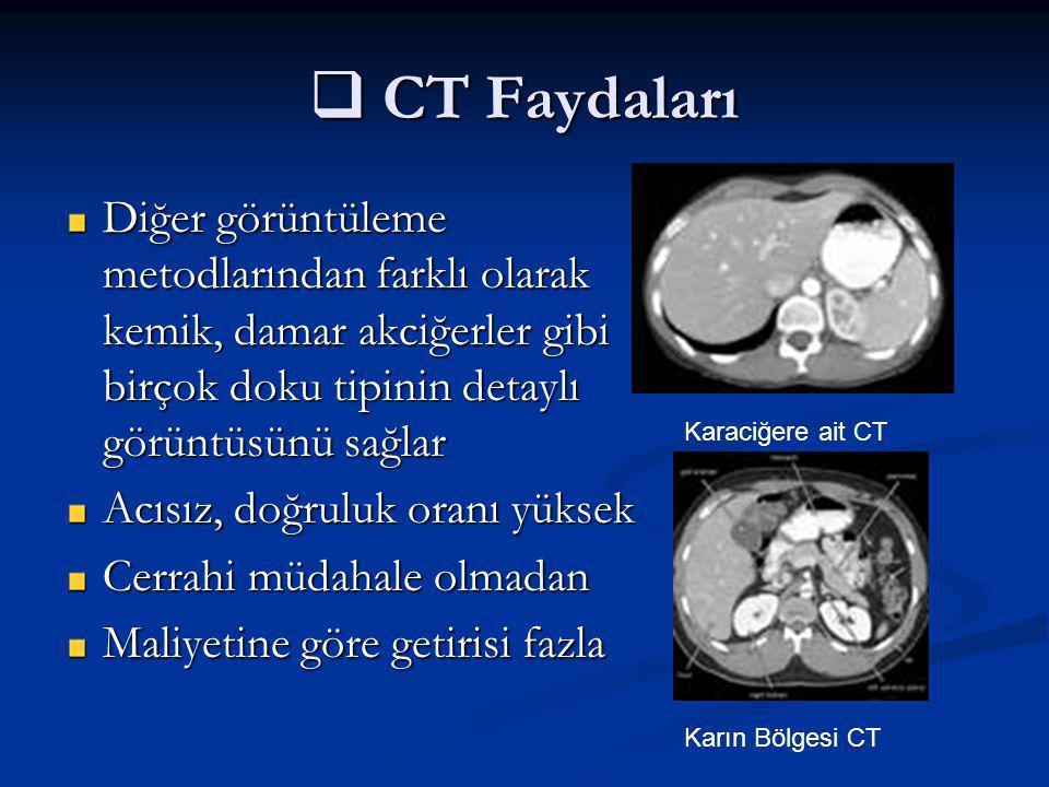 CT Faydaları Diğer görüntüleme metodlarından farklı olarak kemik, damar akciğerler gibi birçok doku tipinin detaylı görüntüsünü sağlar.