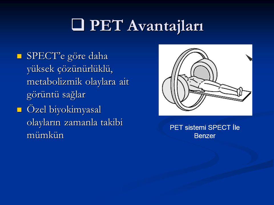 PET sistemi SPECT İle Benzer
