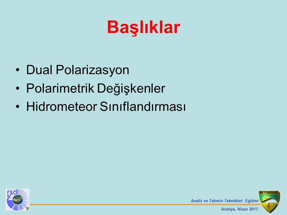 Başlıklar Dual Polarizasyon Polarimetrik Değişkenler