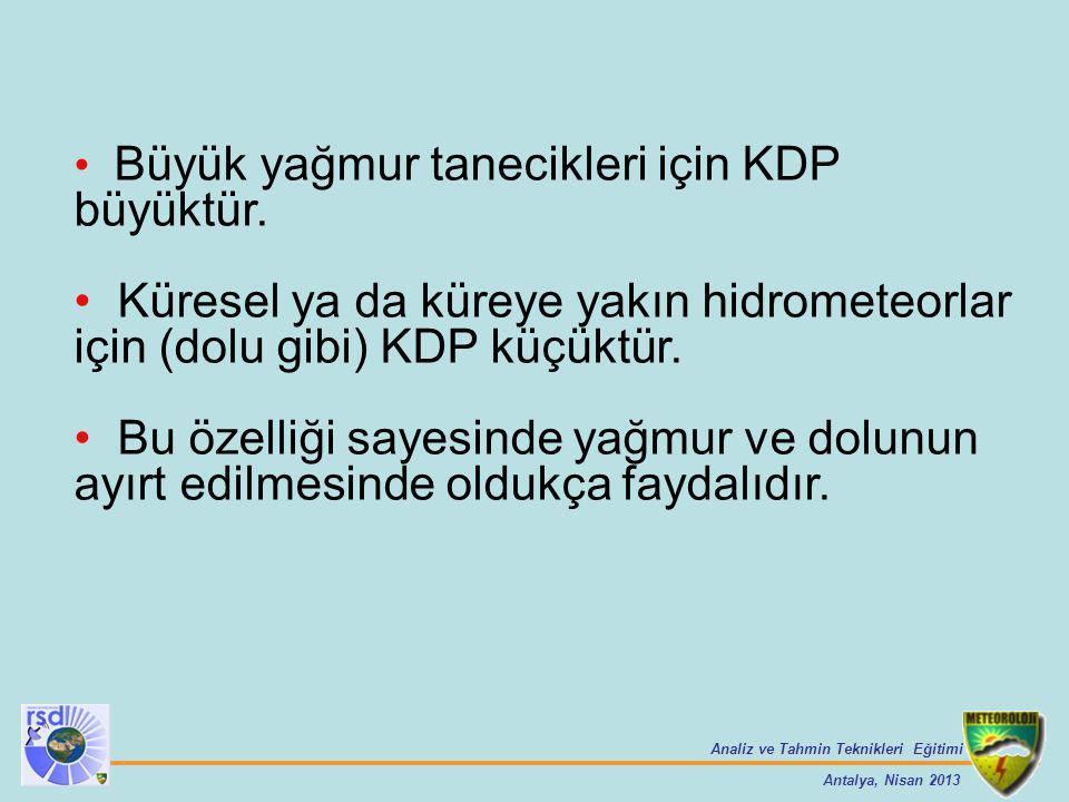 Büyük yağmur tanecikleri için KDP büyüktür.
