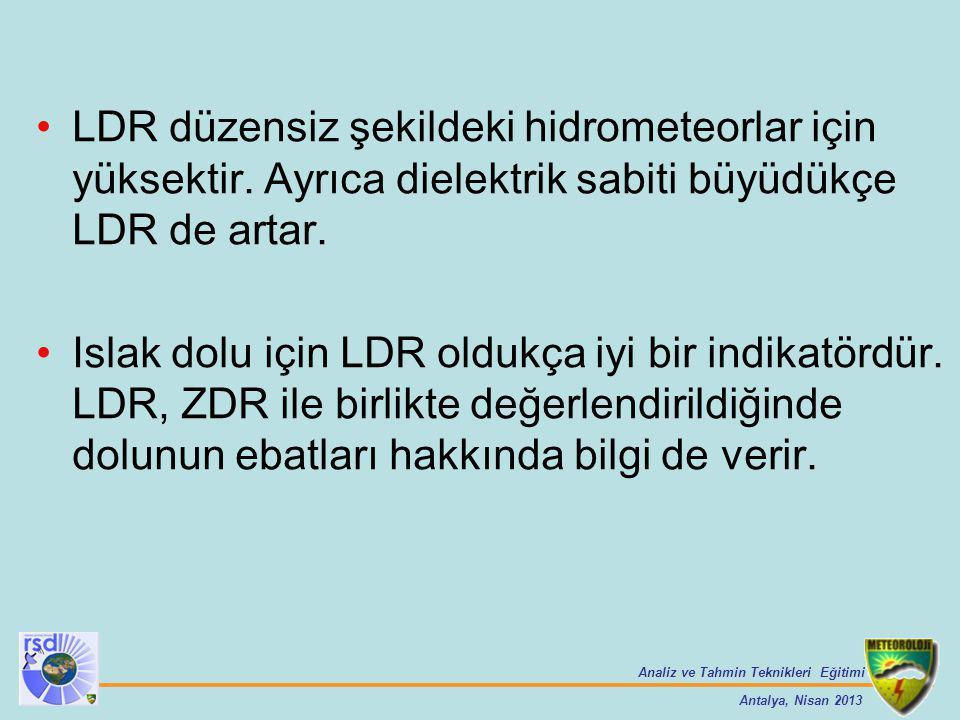 LDR düzensiz şekildeki hidrometeorlar için yüksektir