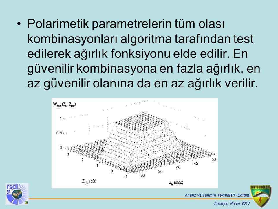 Polarimetik parametrelerin tüm olası kombinasyonları algoritma tarafından test edilerek ağırlık fonksiyonu elde edilir.