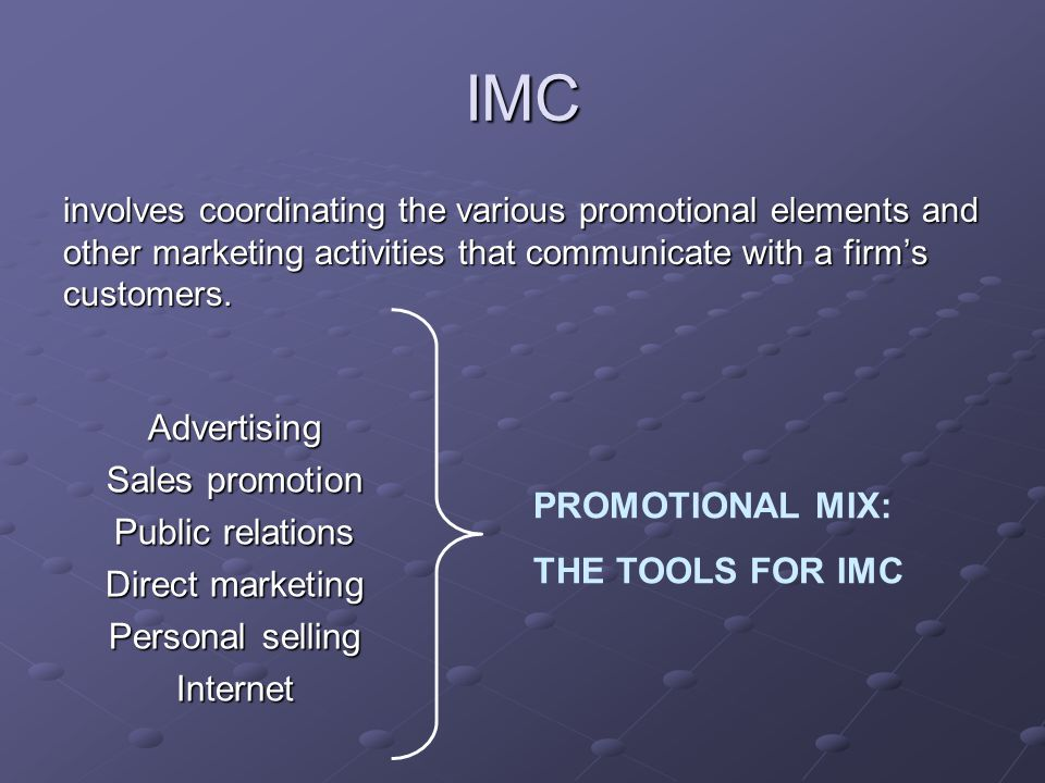 IMC Advertising Sales promotion Public relations Direct marketing