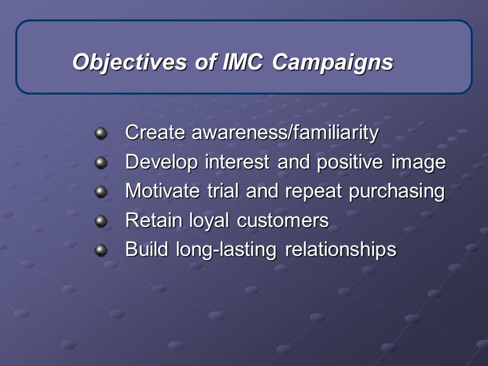 Objectives of IMC Campaigns
