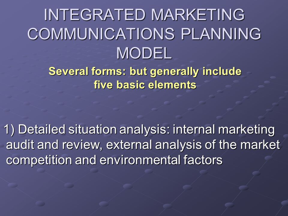 INTEGRATED MARKETING COMMUNICATIONS PLANNING MODEL