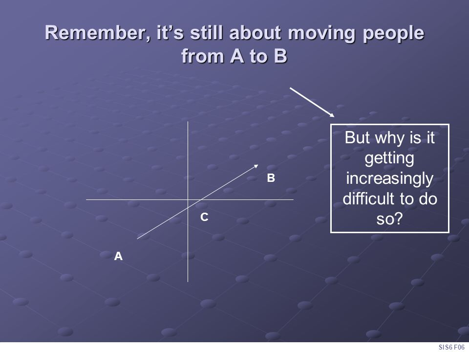 Remember, it's still about moving people from A to B