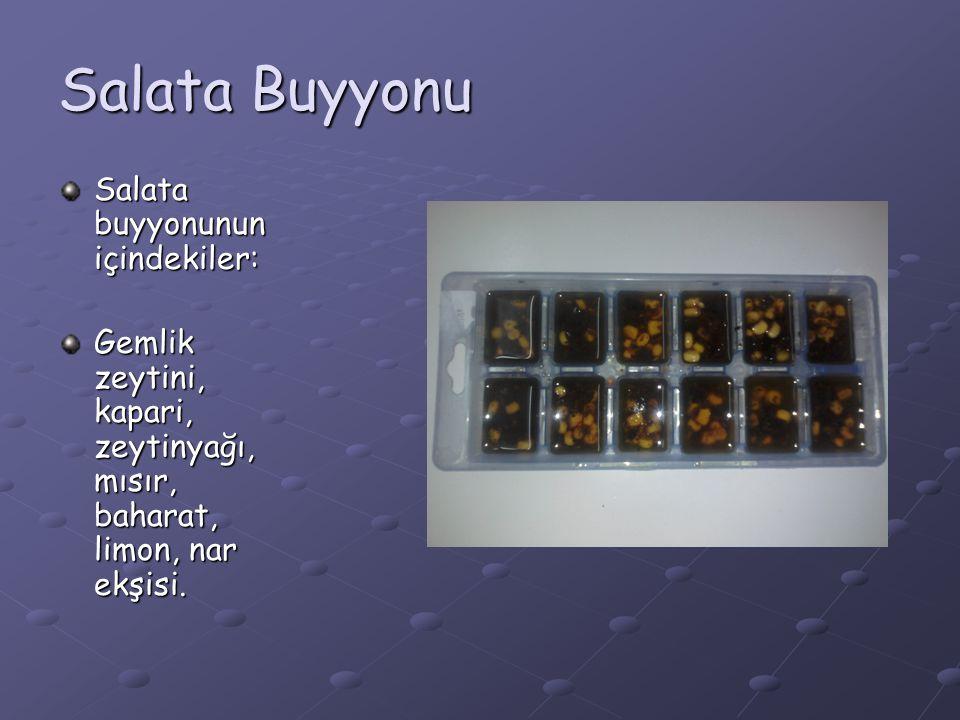 Salata Buyyonu Salata buyyonunun içindekiler:
