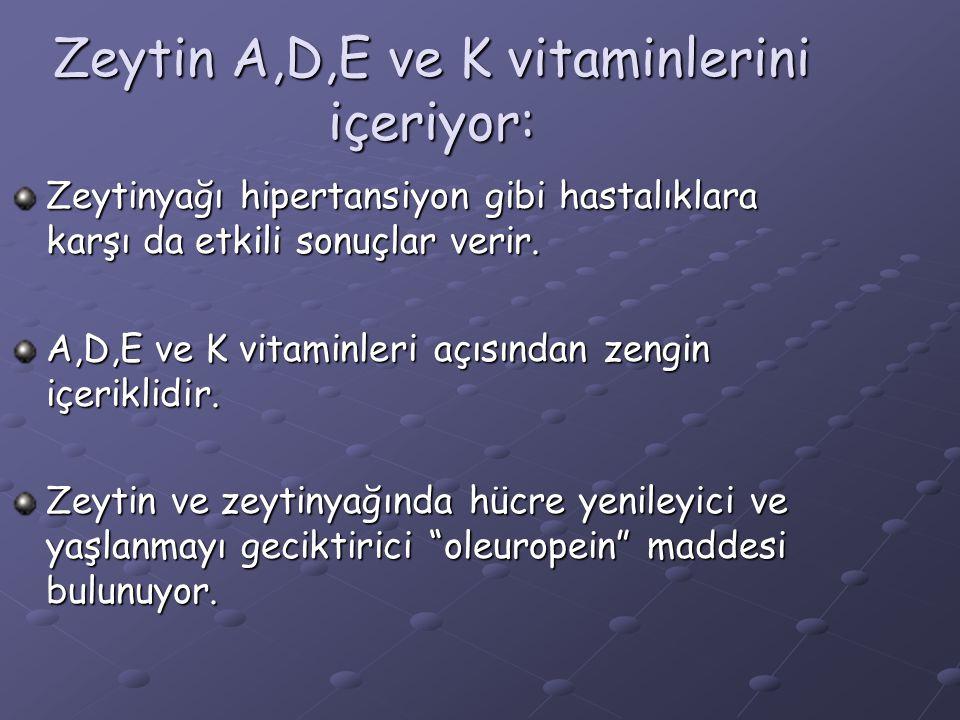 Zeytin A,D,E ve K vitaminlerini içeriyor: