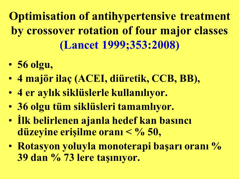 Optimisation of antihypertensive treatment by crossover rotation of four major classes (Lancet 1999;353:2008)