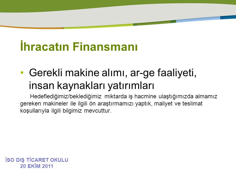 İhracatın Finansmanı Gerekli makine alımı, ar-ge faaliyeti, insan kaynakları yatırımları.