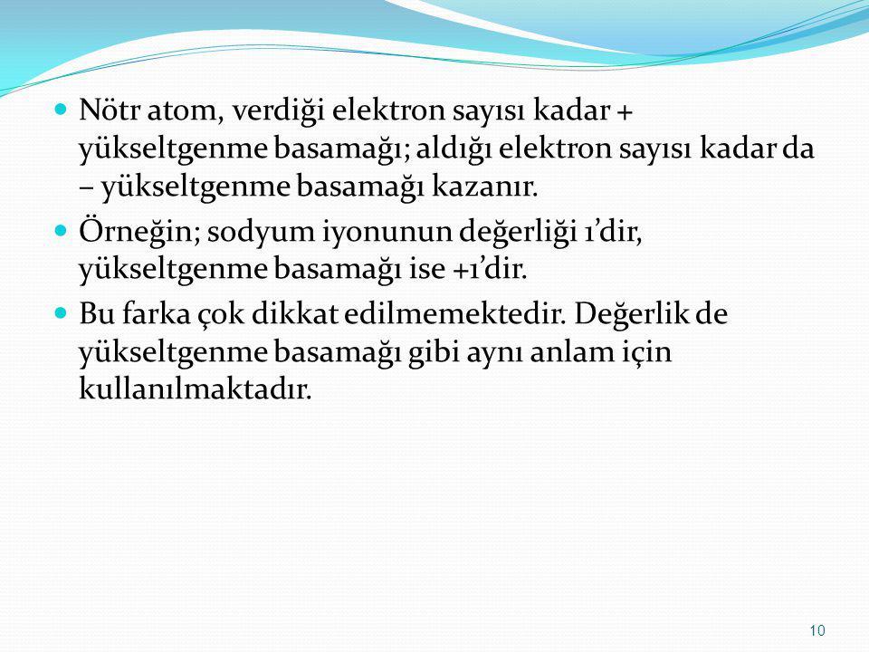 Nötr atom, verdiği elektron sayısı kadar + yükseltgenme basamağı; aldığı elektron sayısı kadar da – yükseltgenme basamağı kazanır.
