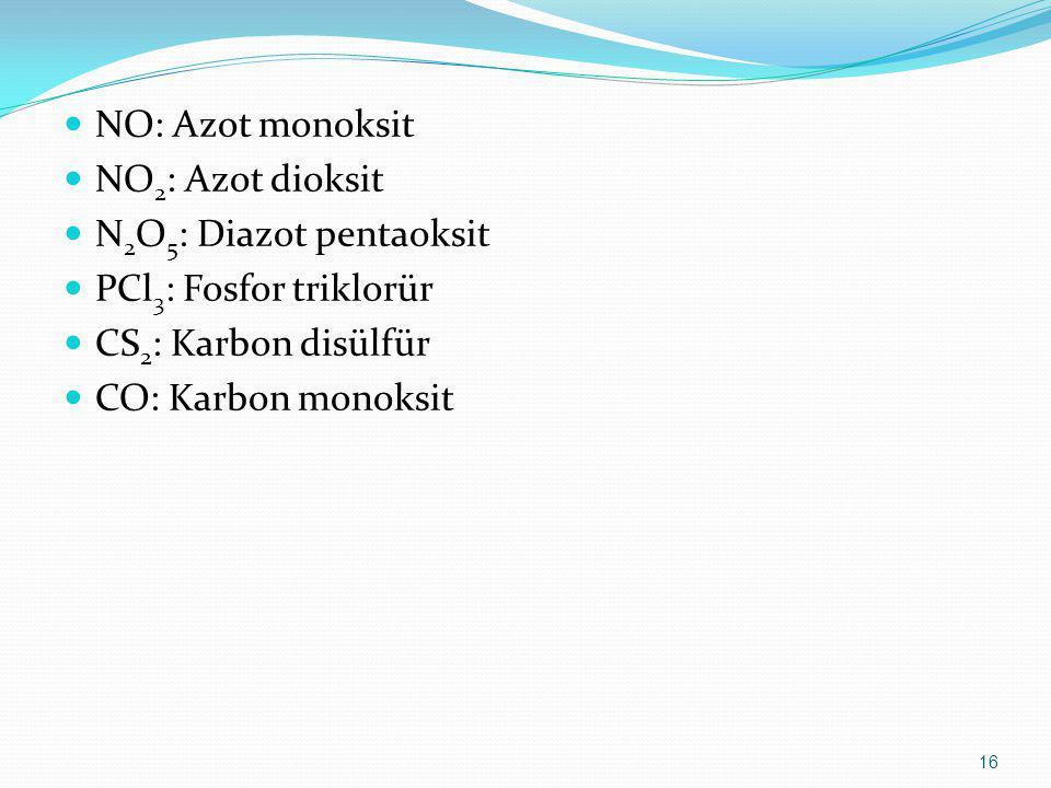 NO: Azot monoksit NO2: Azot dioksit. N2O5: Diazot pentaoksit. PCl3: Fosfor triklorür. CS2: Karbon disülfür.