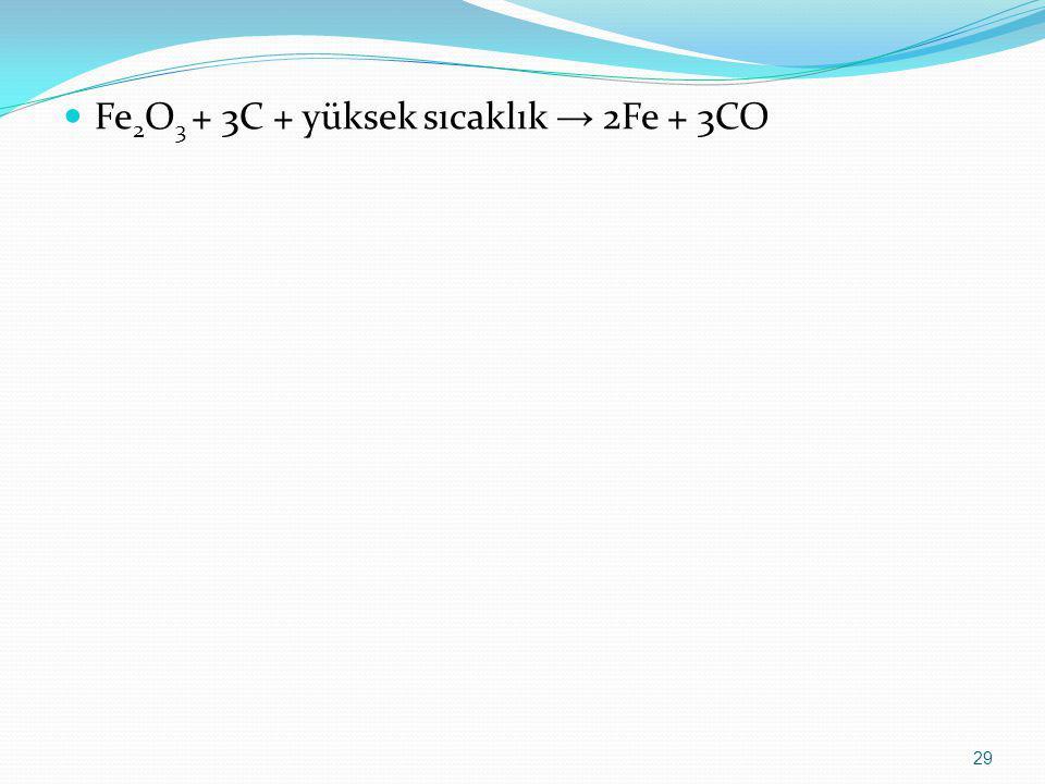 Fe2O3 + 3C + yüksek sıcaklık → 2Fe + 3CO