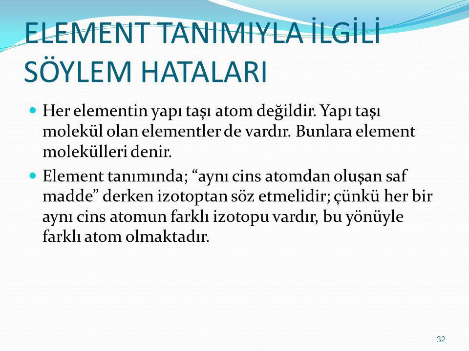 ELEMENT TANIMIYLA İLGİLİ SÖYLEM HATALARI