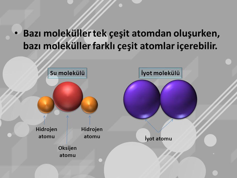 Bazı moleküller tek çeşit atomdan oluşurken, bazı moleküller farklı çeşit atomlar içerebilir.