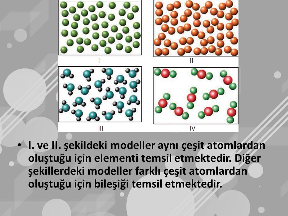 I. ve II. şekildeki modeller aynı çeşit atomlardan oluştuğu için elementi temsil etmektedir.