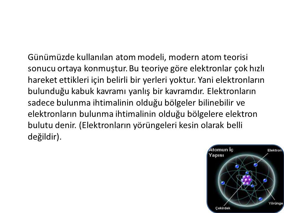 Günümüzde kullanılan atom modeli, modern atom teorisi sonucu ortaya konmuştur.