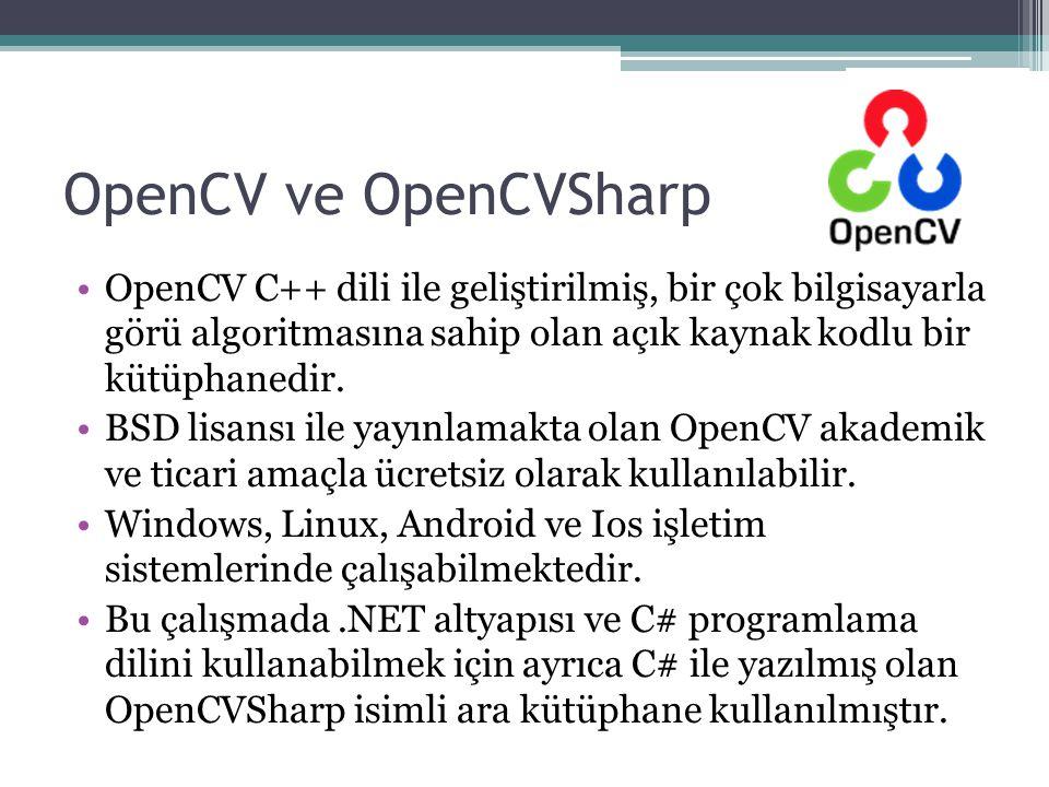 OpenCV ve OpenCVSharp OpenCV C++ dili ile geliştirilmiş, bir çok bilgisayarla görü algoritmasına sahip olan açık kaynak kodlu bir kütüphanedir.